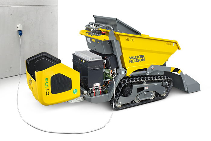 Wacker Neuson electric track dumper DT10e charging mode