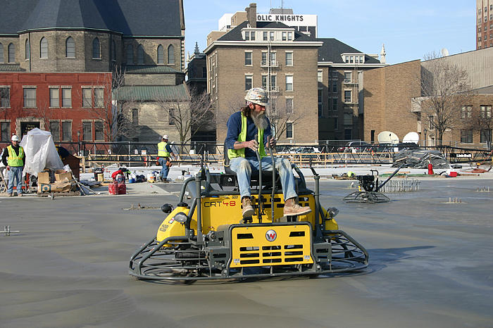 CRT48 in use for concrete surface finishing